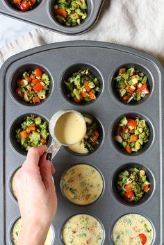 Chickpea Flour Mini Veggie Frittatas - the perfect vegan gluten free make ahead breakfast for busy weekday mornings