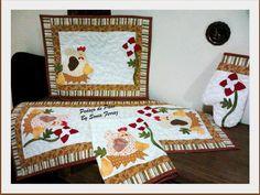 Kit cozinha  Caminho de mesa, americano, pano de prato e luva