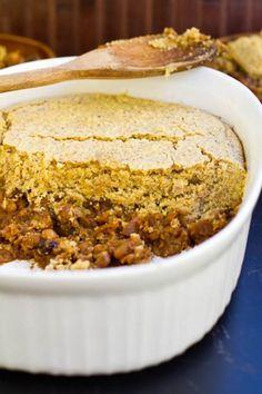Pumpkin Maple Baked Bean Cornbread Casserole #vegan