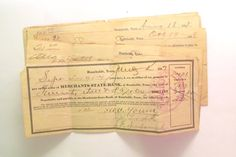 6 vintage 1910s checks / cheques from by PinkFlamingoEphemera