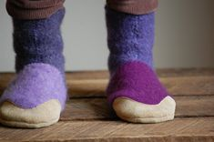 Kids Slipper Socks, Toddler Shoes, Eco Friendly, kids size 13, Sugar Plums. $44.00, via Etsy.
