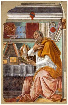 Sandro Botticelli - Sant'Agostino nel suo studio - affresco - 1445 - Chiesa di Ognissanti - Firenze