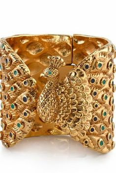 House of Harlow 14KT Gold-plated Peacock Cuff with Enamel