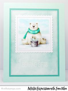 Handmade card from Jane Allen featuring Birdie Brown Polar Bear Pals stamp set, Stitched Mini Scallop Square STAX and Stitched Rectangle STAX Die-namics #mftstamps