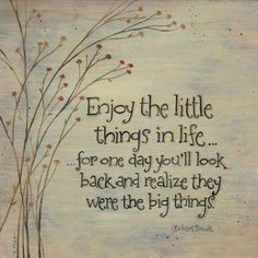 Enjoy the little things in life... for one day you'll look back and realize they were the big things.