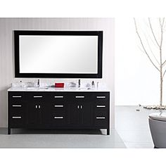 @Overstock - The London 78-inch vanity set is constructed of solid oak wood, with a Carrara white marble countertop. This upscale modern vanity is equipped with undermount sinks, chrome pop-up drains, nine drawers, four doors, and a matching framed mirror.http://www.overstock.com/Home-Garden/Design-Element-London-78-inch-Modern-Espresso-Carrera-Marble-Double-Bathroom-Vanity-Set/6589471/product.html?CID=214117 $2,219.99