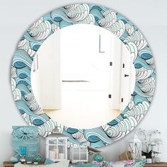 Designart 'Great Wave Inspiration' Traditional Mirror - Oval or Round Wall Mirror - White (Round - 24 in. wide x 24 in. Nautical Mirror, Traditional Mirrors, Round Wall Mirror, Home Decor Trends, Shabby Chic Furniture, Home Decor Outlet, Modern Decor, Fall Decor, Painted Frames