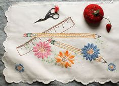 Back-to-School Embroidery by drop cloth. A mini embroidery 101 course that will lead you through the ABC's of embroidered lines and stitches.