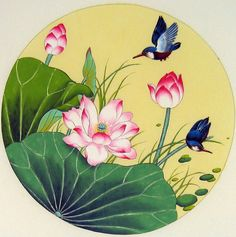 Chinese bird paintings - Kingfisher and Lotus
