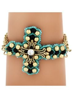 $5.75 Multi-Strand Turquoise and Goldtone Cross Bracelet