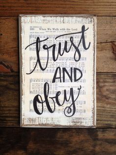 Trust and Obey Hymn Board