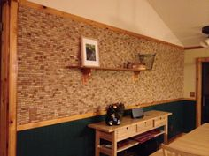 beautiful upcycled wine cork wall instead of paint Wine Craft, Wine Cork Crafts, Wine Cork Projects, Wine Cork Art, Recycled Wine Corks, Cork Wall, Cork Tiles, Wine Bottle Corks, Wine Wall