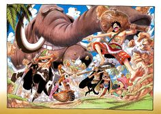 One Piece Color Spread : Chapter 401 (Luffy having a good time, as usual. Really starting to notice that Robin does not run. Queen.)