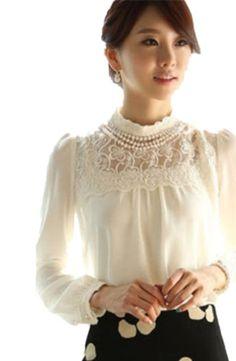 Nsstar Women Long Sleeve Sheer Lace Floral Chiffon Casual Tops Blouse Shirt (Asian XL (US 8)) TRURENDI