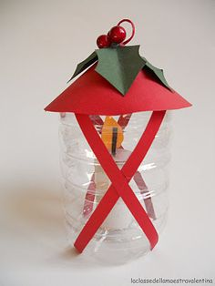 Holiday Lantern made from recycled bottle Childrens Christmas Crafts, Christmas Arts And Crafts, Preschool Christmas, Noel Christmas, Christmas Projects, Christmas Themes, Holiday Crafts, Lantern Craft, Theme Noel