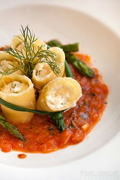 Pasta Paccheri with filled ricotta cheese III