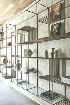 Awesome DIY Bookshelves Storage Style Ideas – Page 86 of 97 - Diy furniture design Bookshelf Design, Industrial Interior Design, Bookshelves Diy, Cool Bookshelves, Office Interior Design, Diy Industrial Interior, Shelves, Interior, Interior Design Styles