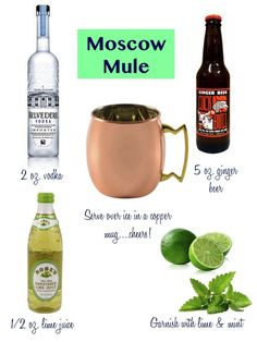 Confetti and Stripes: mid week cocktails: moscow mule - Moscow mule recipe - Snacks Für Party, Party Drinks, Holiday Drinks, Summer Cocktails, Cocktail Drinks, Belvedere Vodka, Cheers, Moscow Mule Drink, Alcohol Drink Recipes
