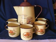 Vntge Rare 1950's Monterey Western Enamel Ware Lrg Coffee Pot & 5 Mugs #MonterreyWesternWare