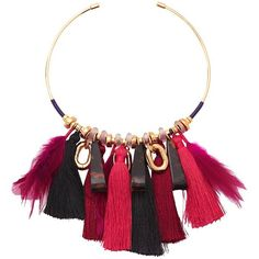 Lizzie Fortunato Crimson Tassel Collar (170 JOD) ❤ liked on Polyvore featuring jewelry, necklaces, lizzie fortunato, tassel jewelry, tassle necklace, tassel necklace and lizzie fortunato necklace