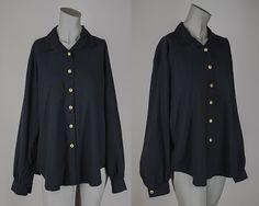 Vintage 1980s Blouse / 80s Plus Size Black Loose by FloriaVintage, $22.00