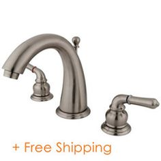 """Two Handle 8"""" to 16"""" Widespread Lavatory Faucet with Brass Pop-up Satin Nickel KS2968"""