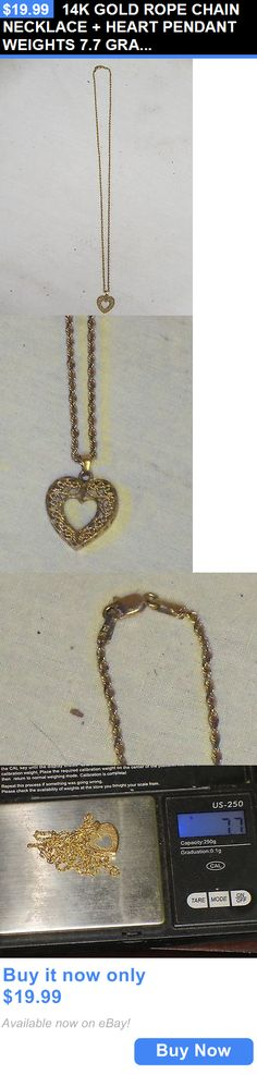 Christmas Gift Ideas: 14K Gold Rope Chain Necklace + Heart Pendant Weights 7.7 Grams Great Xmas Gift BUY IT NOW ONLY: $19.99