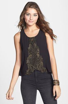Lush Metallic Lace Inset Woven Tank (Juniors) available at #Nordstrom