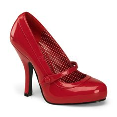 Pleaser PinUp Couture Cutiepie-02 Red Mary Jane Court Shoes £54.95 AT vintagedancer.com