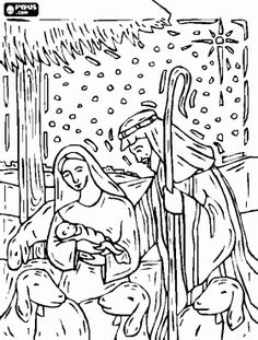 Scene Of The Jesus Nativity In A Stable Near Bethlehem Under Starry Sky Coloring Page