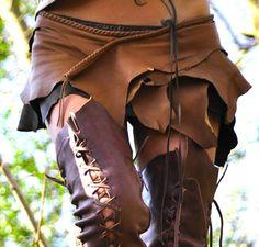 Antique Tan Leather Belt Skirt ♡.♡