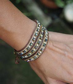 Green mix wrap bracelet with chain Boho bracelet Bohemian