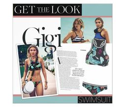 """""""get the look: gigi hadid"""" by fernweeh ❤ liked on Polyvore featuring Seafolly"""