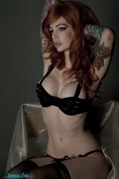 girl tattoos, red hair, lakes, vanessa lake, black lingerie, redhead, pin up girls, tattoo models, ink