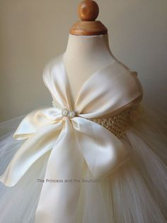 Ivory flower girl dress with ivory hand by Theprincessandthebou