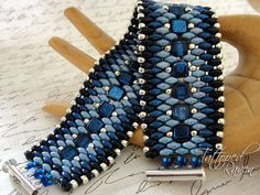 Denim Blue and Silver Super Duo Cuff Bracelet by tattooedraven
