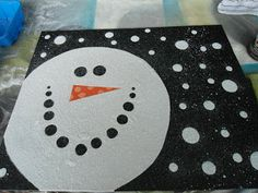 Simple painting projects for kids simple snowman canvas art home decorations ideas for ganpati Winter Art Projects, Easy Art Projects, Christmas Crafts For Kids, Christmas Parties, Christmas Canvas, Christmas Paintings, Christmas Art, Simple Christmas, Winter Fun