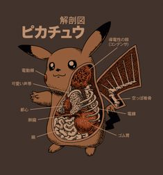 Pokemon Pikachu Anatomy Chart T-Shirt Funny design shows a Japanese scientific chart labeling the different parts of this iconic little Pokémon. Pikachu Pikachu, O Pokemon, Les Gremlins, Arte Indie, Arte Robot, Fan Art, Animes Wallpapers, Geek Out, Grafik Design