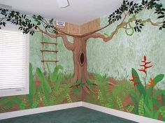 Wall Room Decorating for Kids Bedroom with Jungle Layout Cozy