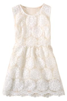 ROMWE | Sunflower Embroidered White Puff Dress, The Latest Street Fashion #ROMWEROCOCO