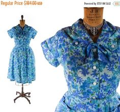 """SHOP SALE Vintage 50's NOS Never Worn Dress // Blue Floral Cotton Dress // Flared Plus Size Pin Up Dress w/ Collar & Ascot - sz Xl - 36-37"""" by SwellFarewell on Etsy https://www.etsy.com/listing/245169495/shop-sale-vintage-50s-nos-never-worn"""