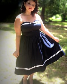 Rockabilly, navy and white Dress.