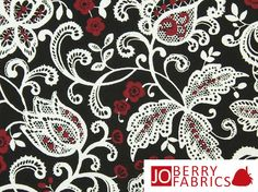 Red Black and White Floral Fabric Gramercy by by JoBerryFabrics