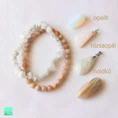 Opál, opalit, holdkő - mi a különbség, mi a hasonlóság és hogyan tudod őket megkülönböztetni egymástól Diy Jewelry, Minerals, Opal, Stud Earrings, Gemstones, Crystals, Bracelets, House, Ideas