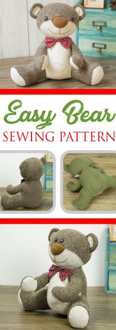 crochet teddy bear pattern Sew this easy teddy bear pattern with its big nose and small eyes. It's a simple pattern for those with some basic sewing skills. Teddy Bear Patterns Free, Teddy Bear Sewing Pattern, Pattern Sewing, Diy Teddy Bear, Knitted Teddy Bear, Teddy Bears, Animal Sewing Patterns, Easy Sewing Patterns, Sewing Stuffed Animals