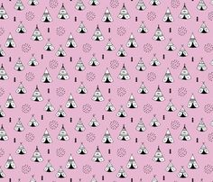 New Indian summer geometric scandinavian woodland hippie camping trip sweet girls pink fabric surface design by Little Smilemakers on Spoonflower - custom fabric and wallpaper inspiration