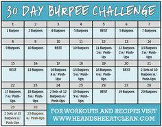 Looking for a full body challenge to blast calories? Try this 30-Day Burpee Challenge! #heandsheeatclean #eatclean #challenge #burpee
