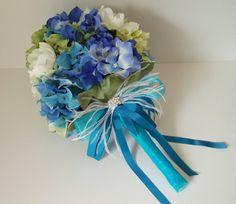Bridal Bouquet Wedding Bouquets Silk Flower Set boutonniere corsages floral Blue Green Turquoise - 14 pieces boquet via Etsy