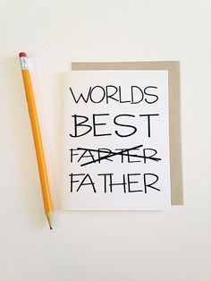 Funny Father's Day Card Worlds best by ChoBeArtandDesign on Etsy geschenke vatertag 38 Best DIY Gifts For Father's Day - Usefull Information Funny Fathers Day Card, Fathers Day Crafts, Mothers Day Cards, Cards For Dads, Funny Fathers Day Gifts, Fathers Day Presents, Fathers Day Ideas, Quotes For Fathers Day, Funny Thank You Cards