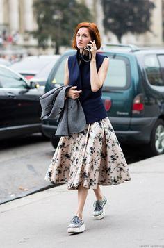 | skirt + sneakers |